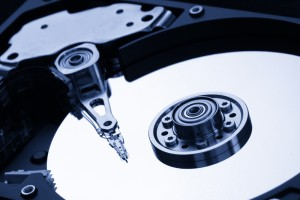 Closeup of open hard drive